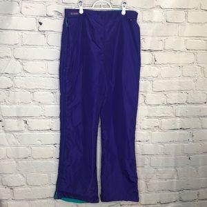 Vintage 80s Columbia Purple/Teal Ski Pants Side Zippers - Women's - Size XL